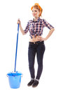 Sexy housewife with mop and bucket full length studio shot of cheerful isolated over white background Stock Photography
