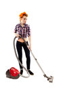 Sexy housewife vacuuming full length studio shot of isolated over white background Royalty Free Stock Images
