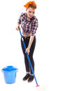 Sexy housewife washing the floor with a mop full length studio shot of isolated over white background Stock Photos