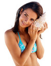 Sexy lady with a conch shell isolated over white Stock Image