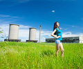 Sexy lady in an industrial background Royalty Free Stock Image