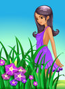 A sexy lady wearing a purple dress standing near the garden illustration of Stock Photography