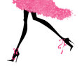Sexy legs running in high heels fashion illustration of long stiletto and a party dress Stock Photography