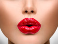 Sexy lips beautiful make up closeup kiss Royalty Free Stock Photos