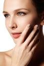 Sexy lips. Beauty natural lips makeup detail. Beautiful make-up Royalty Free Stock Photo