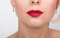 Sexy Lips. Beauty Red Lip Makeup Detail. Beautiful Make-up Closeup. Sensual Open Mouth. Beauty Model Woman's Face close Royalty Free Stock Photo