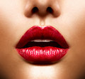 Sexy lips beauty red makeup Stock Photography