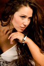 Sexy long brown hair fashion woman Royalty Free Stock Photo