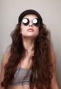 long hair woman in fashion sun glasses Royalty Free Stock Photo