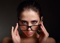 Sexy makeup woman in fashion glasses looking hot closeup portrait Royalty Free Stock Photos