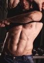Sexy male fitness model fashion portrait Stock Photo