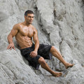 Sexy man beach Stock Photos