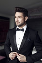 Sexy man celebrity in tuxedo indoor Royalty Free Stock Photo