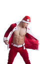 Sexy man undress santa claus dress Stock Photos
