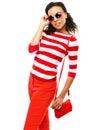 Sexy mixed race fashion model posing isolated on white background Stock Photos