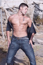 Sexy muscled man with jeans Stock Image