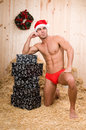 Sexy muscled santa claus  Royalty Free Stock Images
