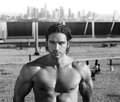 Sexy muscular male model black and white portrait of a hot on rooftop Stock Photo