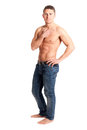 Sexy muscular man isolated on white background Stock Images