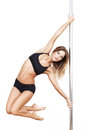 Sexy pole dancer practice isolated Royalty Free Stock Image