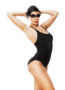 Sexy pretty swimmer in black swimwear on white background Stock Photos