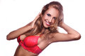 Sexy red hair woman in red bra smiling on camera Royalty Free Stock Photo