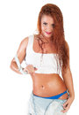 Sexy red hair woman in wet white t shirt Stock Image