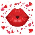red lips in a kiss of love. And red heart, isolated on white. Royalty Free Stock Photo