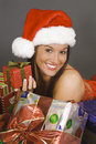 Beautiful and sexy Caucasian woman dresses as a sexy santa Royalty Free Stock Photo