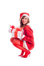Sexy santa baby holding presents claus babe christmas isolated on white background Royalty Free Stock Photo