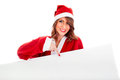 Sexy santa claus wman with white billboard young woman holding customizable Stock Photography