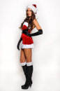 Sexy santas helper girl great image for creating holiday greeting postcards or computer wallpapers Stock Photos