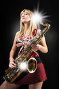Sexy saxy girl Stock Photography