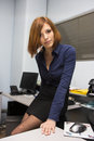 Sexy secretary very beautiful young model posing as a Stock Images