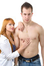 Sexy shirtless young couple embracing Royalty Free Stock Photo