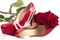 Sexy shoes with beads and roses on the background Stock Images