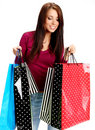 Sexy shopping girl with sale bag Stock Photography