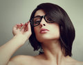 Sexy short hair woman in glasses closeup vintage portrait Stock Photos