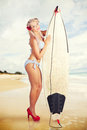 Sexy Sixties Pinup Surfer Girl At Vintage Beach Stock Photos