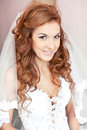 Sexy smiling bride with wedding make up closeup portrait of Royalty Free Stock Photos