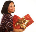 Sexy smiling girl holding a gift Stock Photos