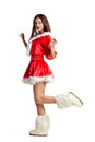 Sexy snow maiden beautiful young woman with long hair in red costume of santa and fur winter foot on long beautiful legs isolated Stock Photos
