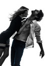 Sexy stylish couple lovers silhouette caucasian in on white background Stock Images