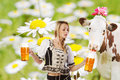 Sexy tiroler woman with a big glass of beer party creation made very or girl in traditional austrian or german oktoberfest clothes Stock Photography