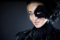 Sexy woman with black feather half mask portrait of for venice desire concept Royalty Free Stock Image