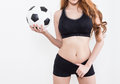 Sexy woman body with soccer ball Royalty Free Stock Photo