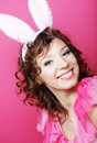 Sexy woman with bunny ears playboy blonde smiling easter Stock Images