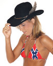 Sexy woman in cowboy hat Stock Images