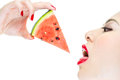woman desire eating watermelon with red lips, Thirst