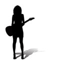 Sexy woman with an electric guitar Royalty Free Stock Photo